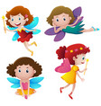 four fairies with wands vector image vector image