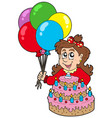 girl with cake and balloons vector image