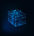 glowing low polyg gift box with ribbon bow made of vector image vector image