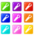 Hand flashlight icons 9 set vector image