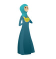 happy muslim business woman holding money vector image