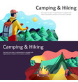 hiking camping horizontal banners vector image
