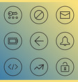interface icons line style set with backward key vector image vector image