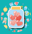jar glass filled hearts love kawaii charity vector image vector image