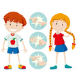 Kids playing rock scissors paper vector image vector image