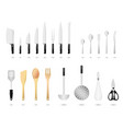kitchen utensils set a set of kitchen utensils vector image vector image