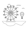 line carnival with ferris wheel mechanical and air vector image