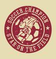 logo design soccer champion star on field vector image vector image