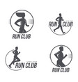 man woman running club icon isolated set vector image