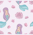 mermaid rose decorative seamless pattern vector image