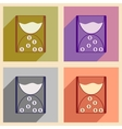 Modern collection flat icons with shadow cash vector image vector image