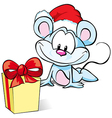 Mouse with Gift vector image vector image