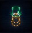 neon leprechaun with patricks green hat vector image vector image