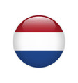 netherlands flag on button vector image vector image
