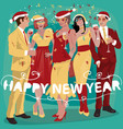 people in yellow suits are celebrating new year vector image vector image