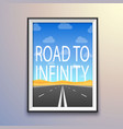 photo frame on the wall road to infinity highway vector image