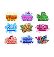 play room logo kids zone banners baby vector image