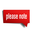 please note red 3d speech bubble vector image vector image