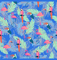 seamless pattern with exotic tropical birds and vector image vector image