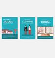 set japan country ornament travel tour concept vector image vector image