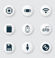 set of 9 computer hardware icons includes aux vector image vector image