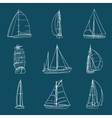 Set of 9 sailboats isolated on white vector image vector image