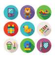 set of colorful kids toys icons in flat style vector image