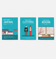 set of japan country ornament travel tour concept vector image vector image