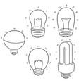 set of light bulb vector image vector image