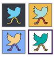 set of unusual look tweet bird logotwitter icon vector image vector image