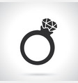 silhouette ring with a diamond vector image