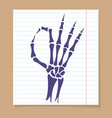 skeleton hand ok sign vector image vector image