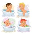 Small children take a bath vector image