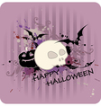 striped halloween background with pumpkin and skul vector image