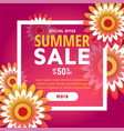 summer sale design with flowers vector image vector image