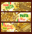 traditional italian cuisine pasta banners vector image vector image
