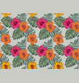 tropical seamless pattern with flowers hibiscus vector image vector image