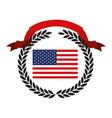 united states flag inside of circle of black olive vector image
