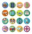 Vacation and Tourism Flat Icons Set vector image vector image