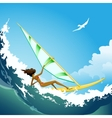 Wind surfer girl on the wave vector image vector image