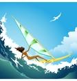 wind surfer girl on wave vector image vector image
