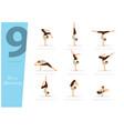 9 yoga poses for arm balancing vector image vector image