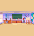 art classroom with easel in school vector image vector image