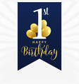 beautiful first birthday card design vector image
