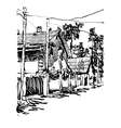 black and white digital graphic of village vector image vector image