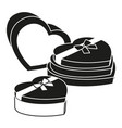 black and white heart box collection vector image vector image