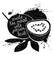 Black and white of passion fruit silhouette vector image vector image