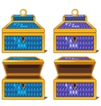 Blue and purple magic chests open and close vector image vector image