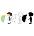 boy holding umbrella in color and outline vector image vector image