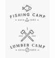 camping logos templates design elements and vector image vector image